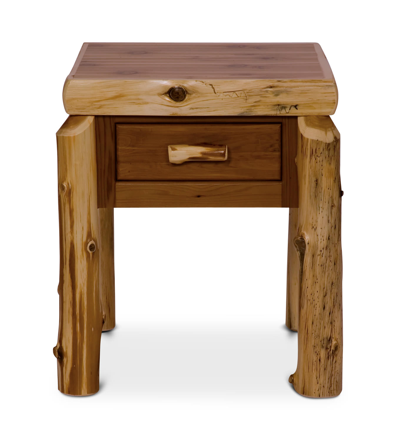 Cedar Log 1 Drawer Nightstand