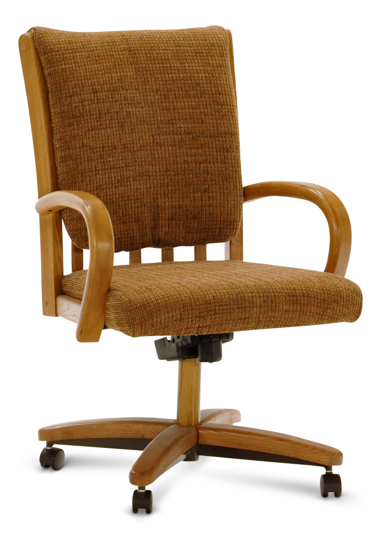 honey oak caster dining chair