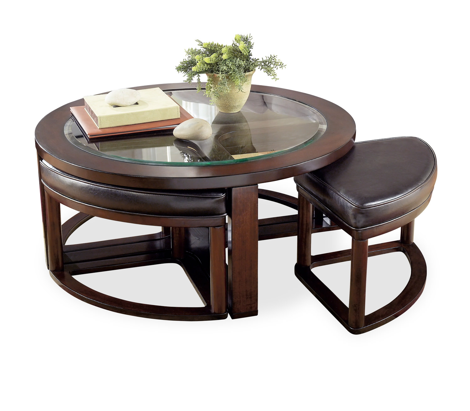 Marion Round Coffee Table With 4 Ottomans HOM Furniture