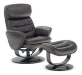 Bruno Leather Swivel Recliner And Ottoman