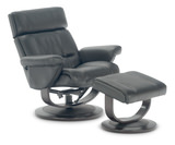 Coreno Leather Swivel Recliner and Ottoman