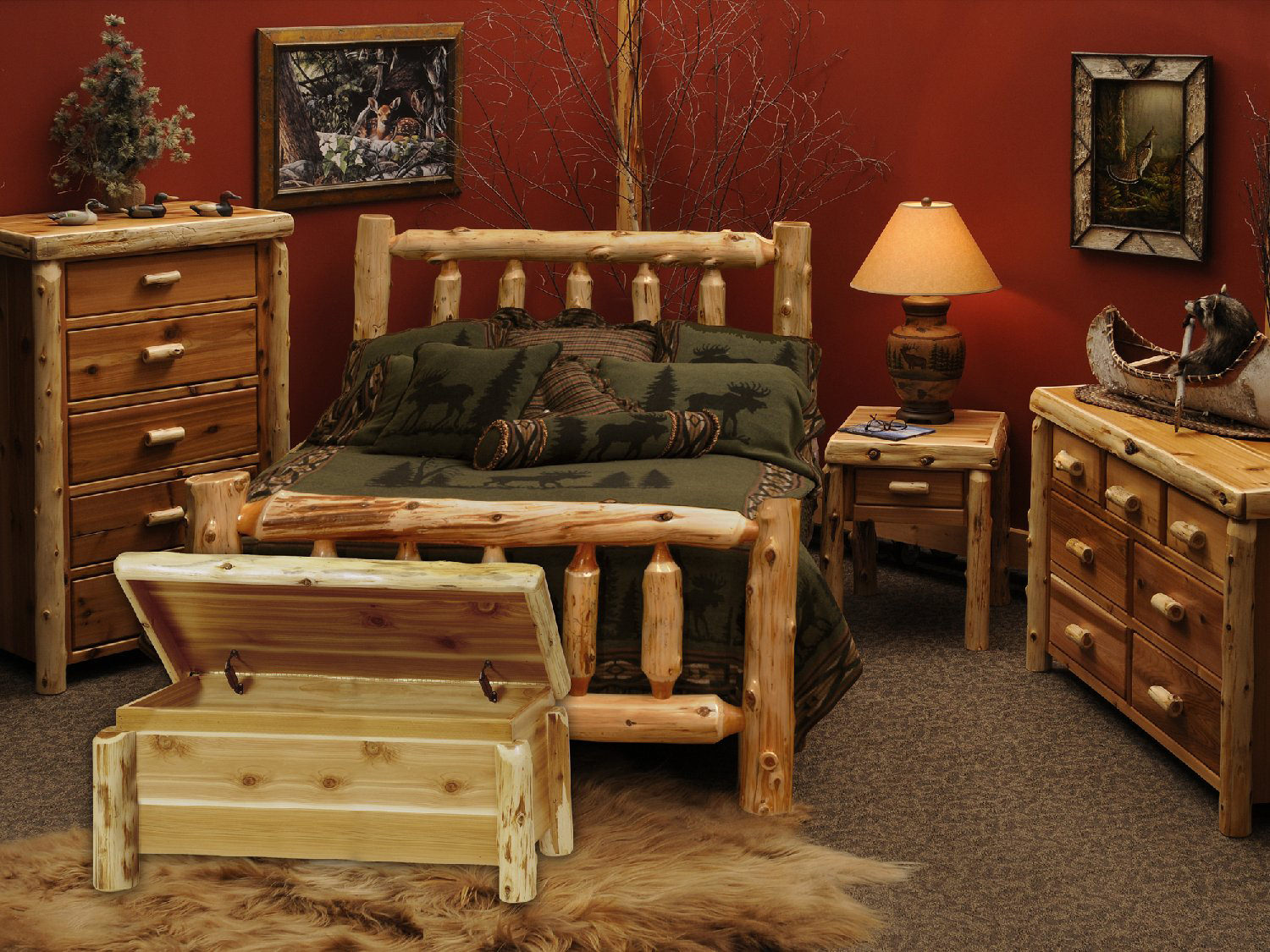 Cedar Log King Bedroom Suite