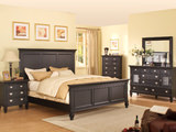 Summer Breeze Queen Black Panel Bedroom Suite