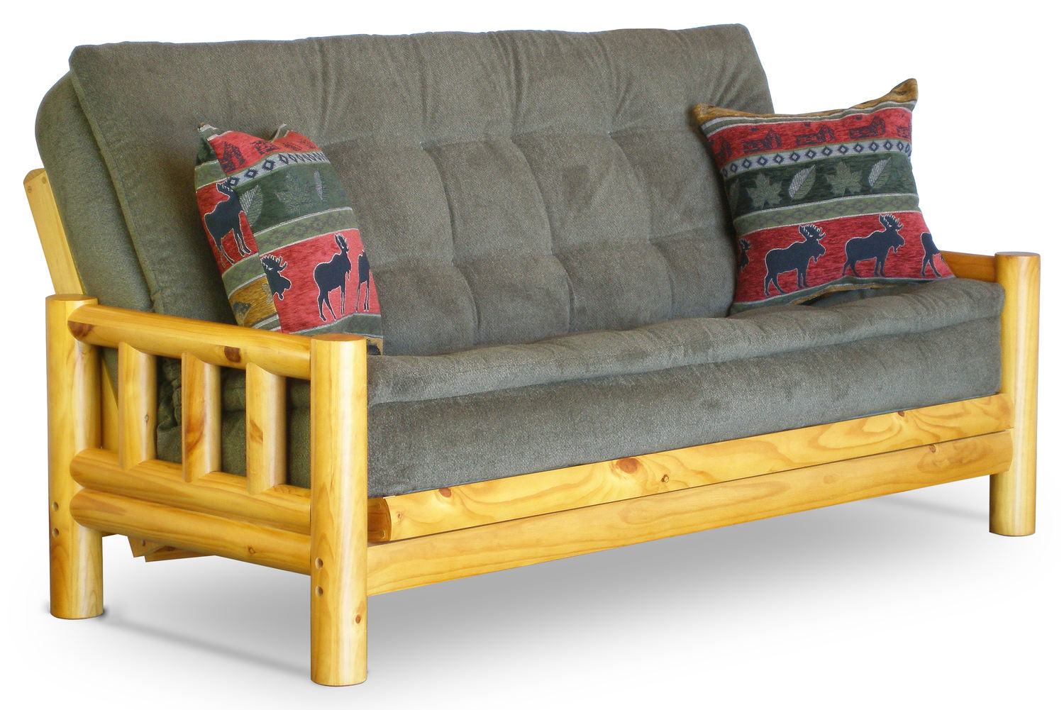 Rustic Log Futon Solid Pine Couch Amish Wood Futon