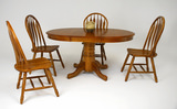"Classic Oak 42"" Round table with 4 monarch side chairs"