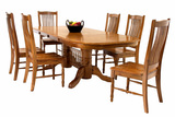 Classic Oak Trestle table with 4 urbandale side chairs