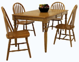 Classic Solid Oak Leg table and 4 solid oak arrowback side chairs