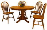 "Classic oak 36"" round table and 4 arrowback side chairs"