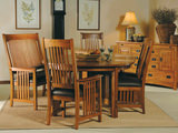 Mission Pointe Reunion Dining table with 4 leather seat side chairs