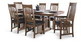 Mission Pointe Trestle table and 4 leather seat side chairs
