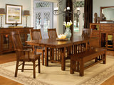 Laurelhurst Solid Oak Mission table with 4 side chairs and 2 arm chairs