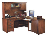 Mission Pasadena desk with return and hutch