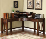 Castlewood corner desk with curved corner hutch