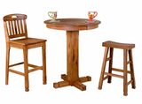 Sedona pub table and 2 saddle stools