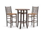 Hickory Pub Table with 2 Stationary Barstools