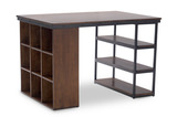 Pembroke Project Table with 1 Wooden Bookcase and 1 Wood and Metal Boockase