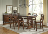 Andover Park Trestle Counter Height Table and 4 Slat Back Counterstools