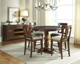 Andover Park Round Counter Height Dining Table with 4 T-Back Counterstools