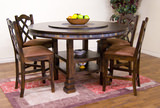 Santa Fe Round Adjustable height table with 4 counterstools