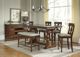Andover Park Trestle Counter Height Table with 4 T-Back Counterstools and Bench