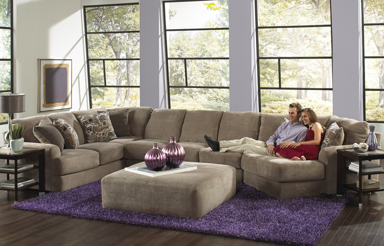 Product Regal 3 Piece Modular Sectional and Cocktail Ottoman Room Package