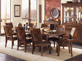Larkspur table with 4 side chairs and 2 arm chairs