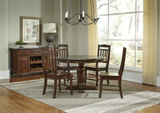 Andover Park Bluestone Round Dining Table with 4 Slat Back Side Chairs
