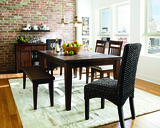 Montego Dining Table with 4 Wooden Side Chairs and 2 Sidney Water Hyacinth Chairs