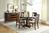 Andover Park Round Dining Table with 4 T-Back Side Chairs