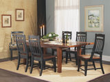 Riverside Leg Table With 4 Slat Back Side Chairs