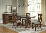 Andover Park Trestle Table and 4 T-Back Side Chairs
