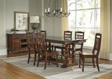 Andover Park Trestle Table and 4 Slat Back Side Chairs