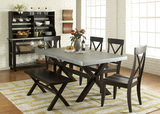 Preston Zinc Top Table with 4 Side Chairs and Bench