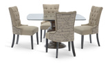 Serena glass top table with teahouse dining chairs