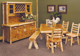Cedar table with 4 ladderback side chairs finish