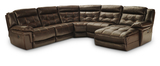 Hallmark 5-Piece Leather Power Recline Sectional (2 Reclining Seats, 1 with Power)