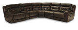 Hallmark 6 Piece Leather Power Recline Sectional (3 Reclining Seats, 2 With Power)