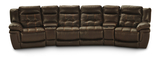Hallmark 6 Piece Leather Power Recline Home Theater (4 Reclining Seats, 2 With Power)