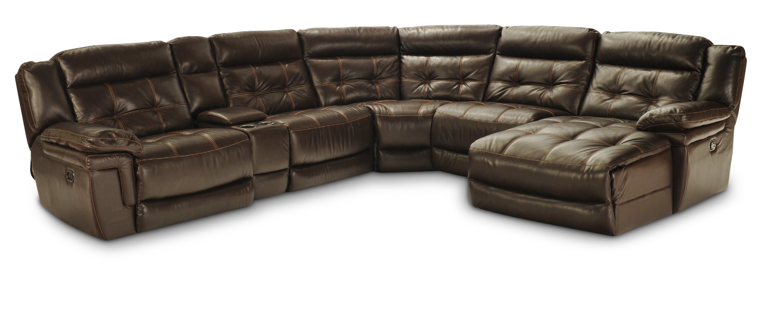 Hallmark 6 Piece Leather Power Recline Sectional (2 Reclining Seats, 1 With Power)