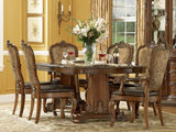 Old World Double Pedestal Dining Table with 4 Leather/Fabric Side Chairs