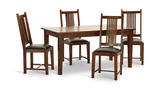 "Provence 76"" Dining Table With 4 Leather Seat Slat Chairs"