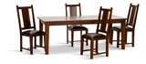 "Provence 82"" Dining Table With 4 Leather Seat Slat Chairs"