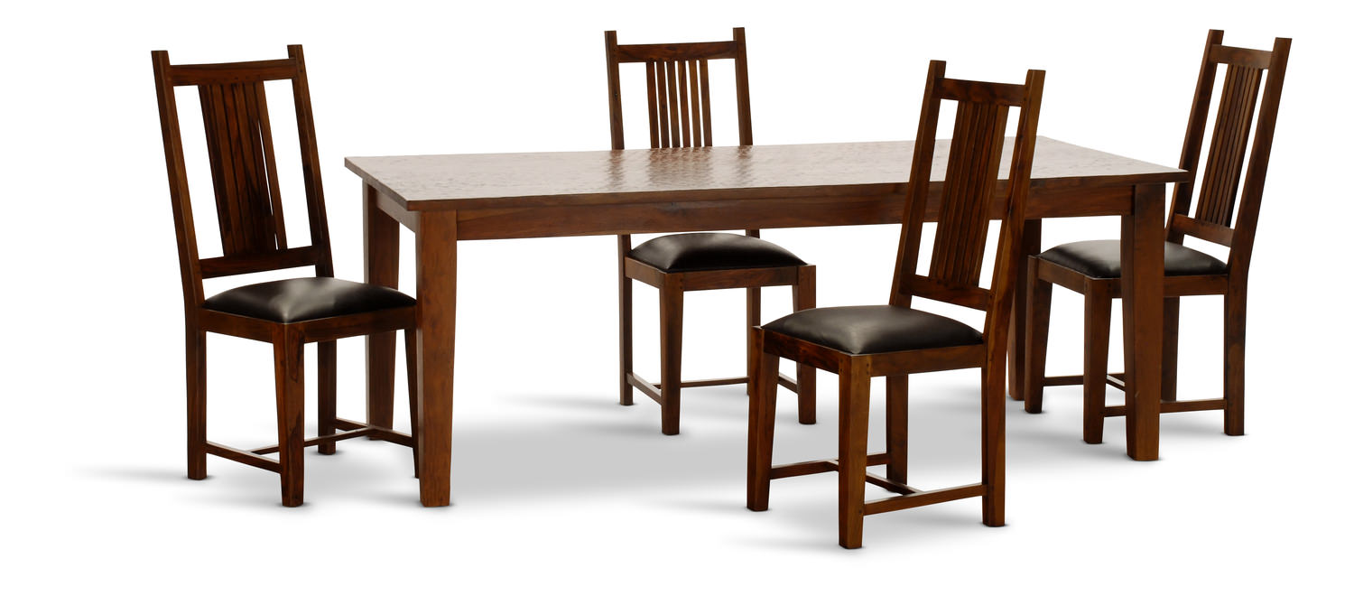 Provence 82 Dining Table With 4 Leather Seat Slat Chairs
