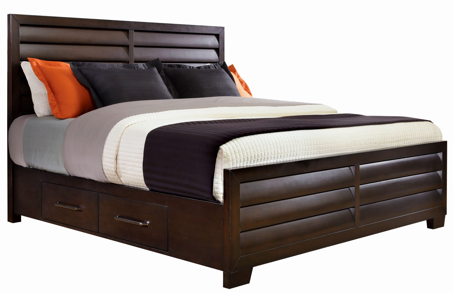 Vogue King Panel Bed With Two Plain Rails