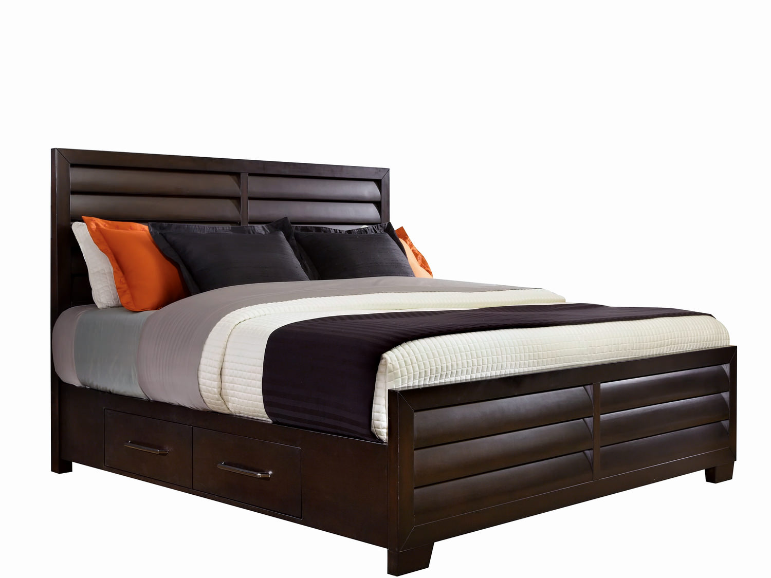 Vogue Queen Panel Bed With Two Plain Rails