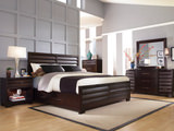 Vogue 4 PC King Panel Bedroom Suite With One Plain Rail And One Storage rail