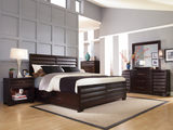 Vogue 4 PC Queen Panel Bedroom Suite With One Plain Rail And One Storage rail