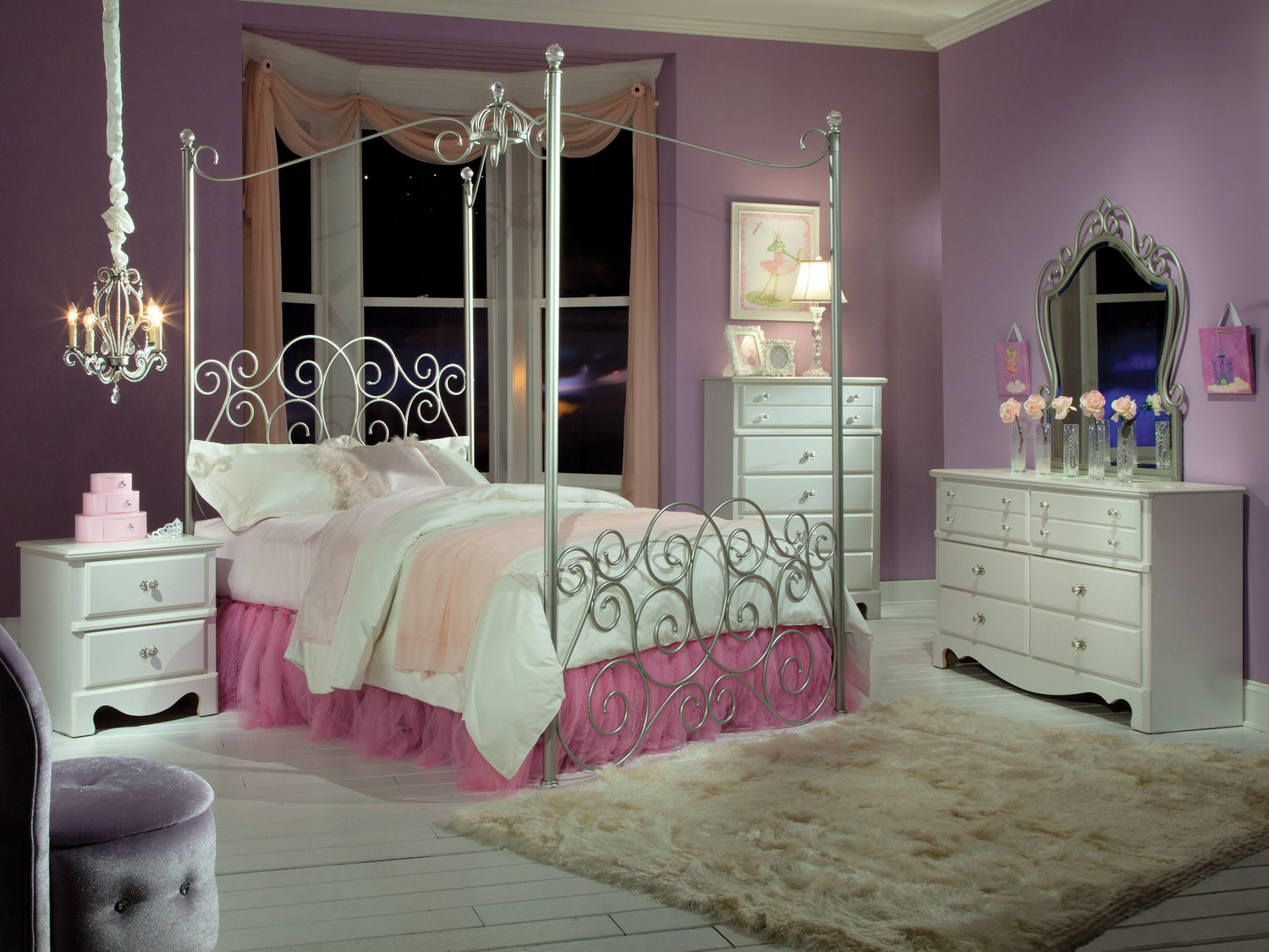 Spring Rose Twin Princess Canopy Bedroom Suite