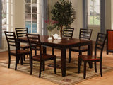 Acacia wood leg table and 4 side chairs
