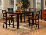 Acacia counterheight table and 4 ladderback counterstools